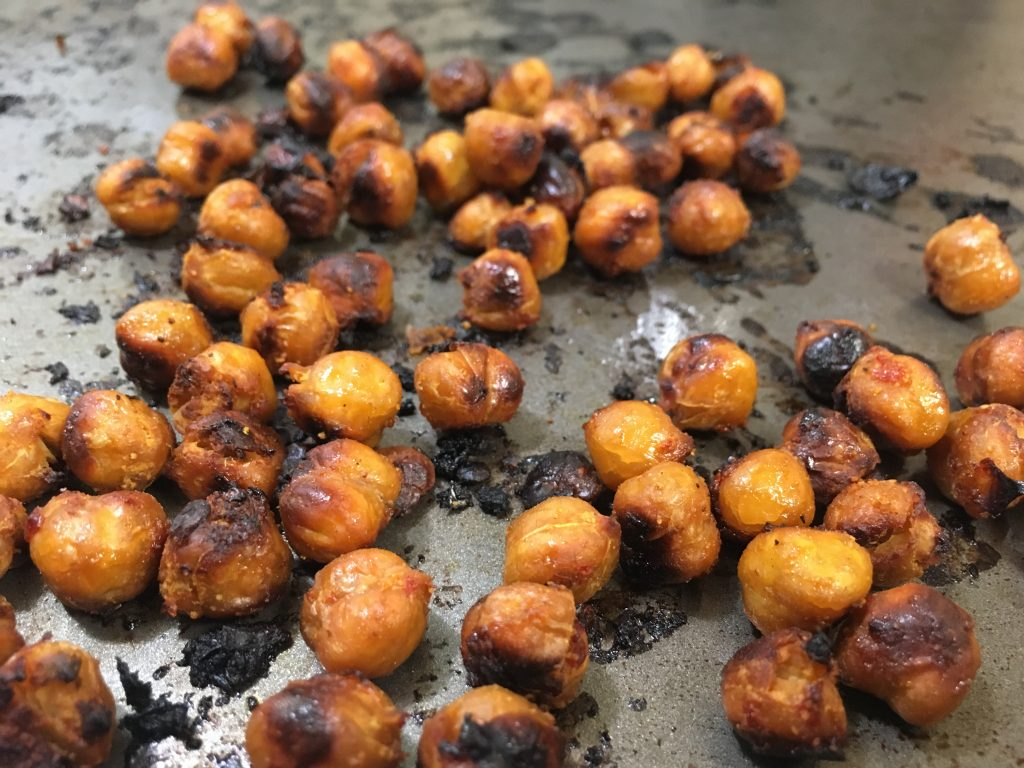 roasted chickpeas on a sheet pan