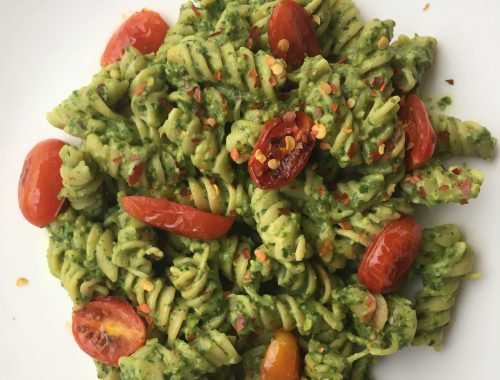 Rotini chickpea pasta with homemade pesto and tomatoes