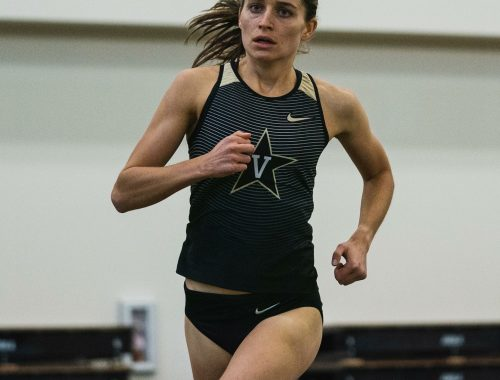 vanderbilt athlete running on indoor track