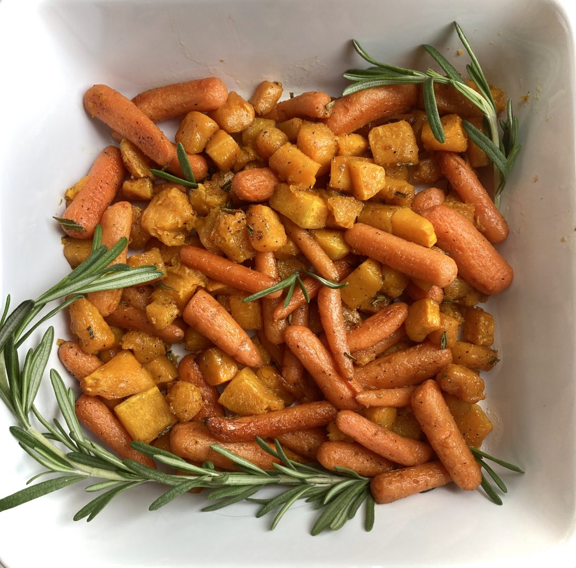 maple roasted butternut squash and carrots with rosemary
