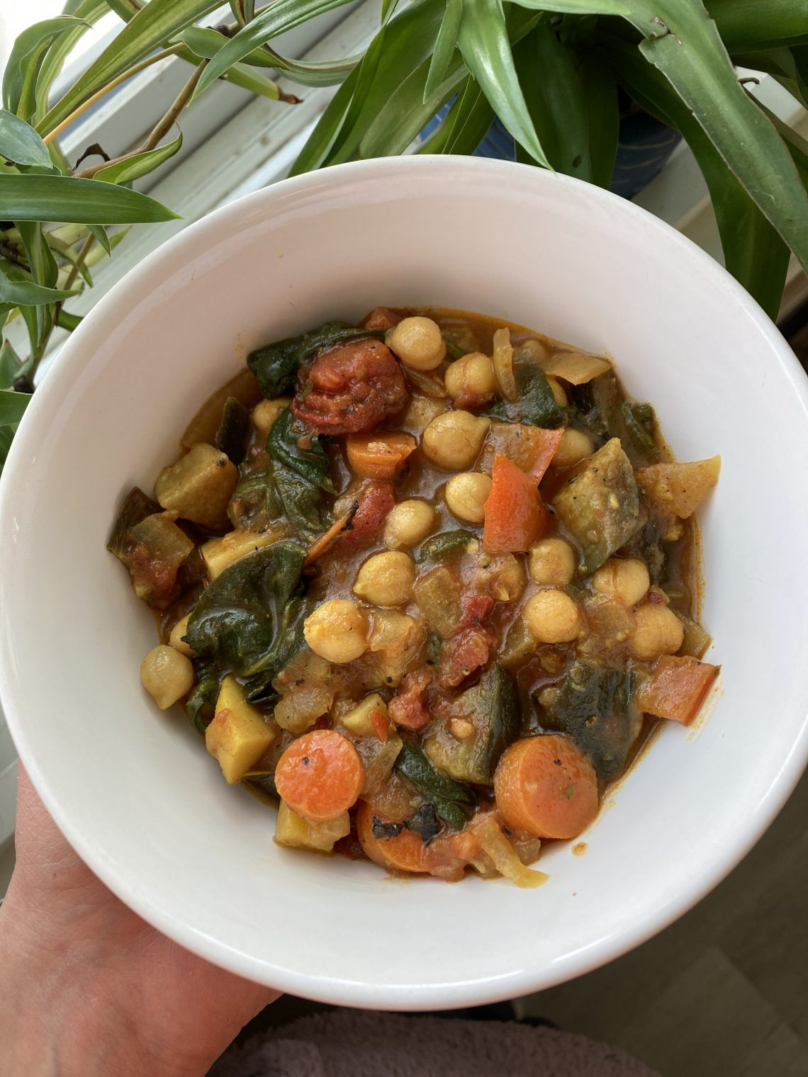bowl of roasted veggie and chickpea soup