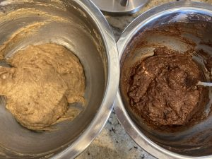 separated peanut butter batter and chocolate batter