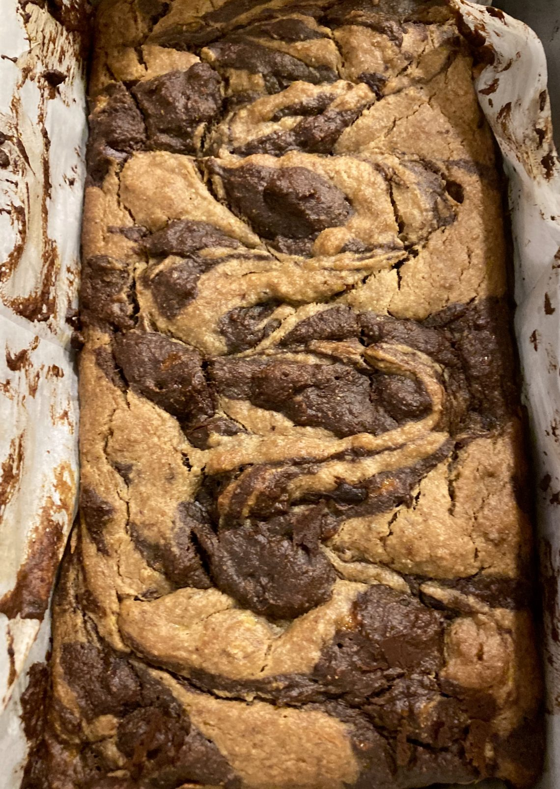 marbled peanut butter chocolate banana bread loaf